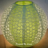 "16"" White Ball with Light Lime oliver eyelet double paper lanter"